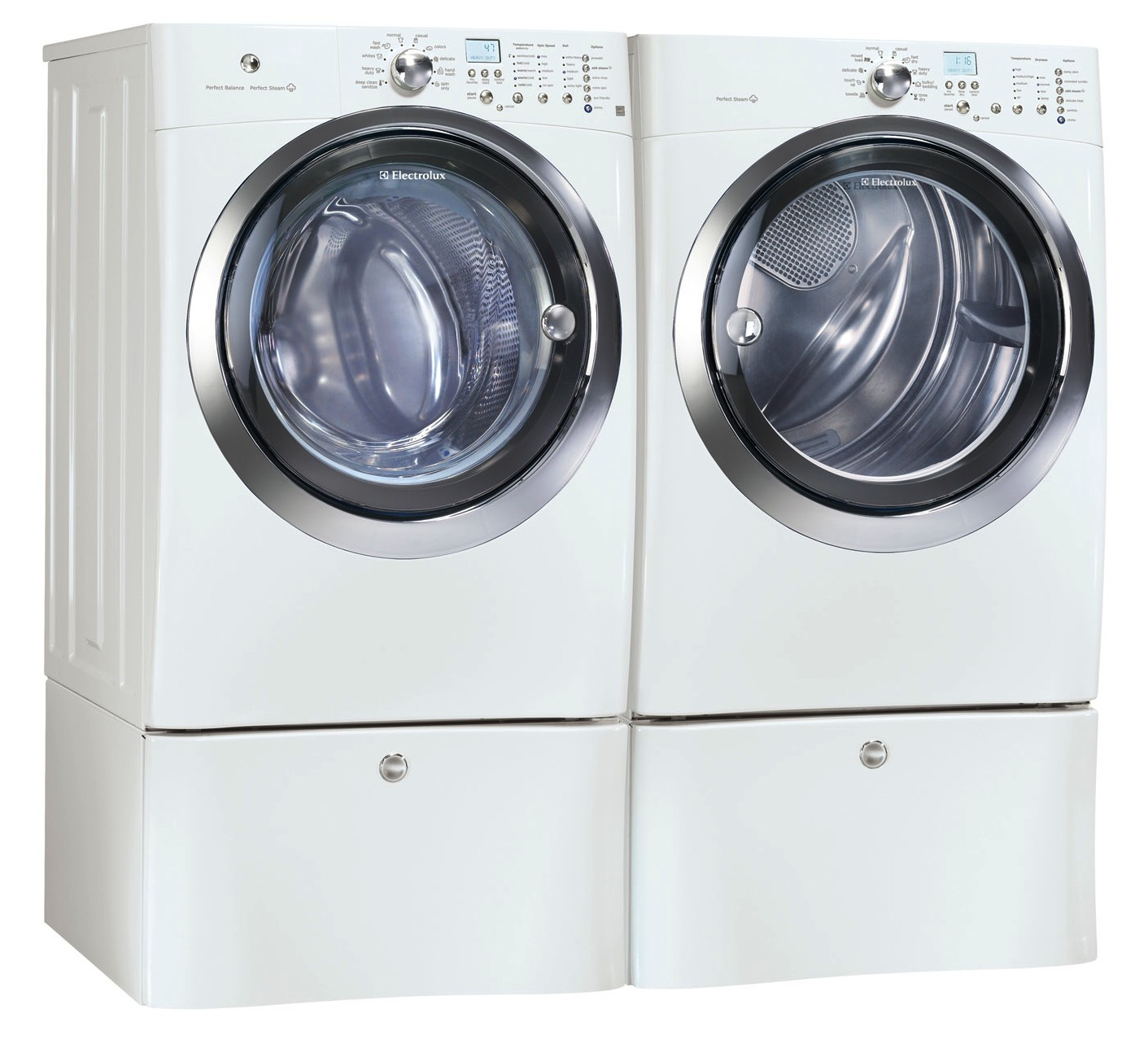 Electrolux white front load washer and steam gas dryer Electrolux washer and dryer