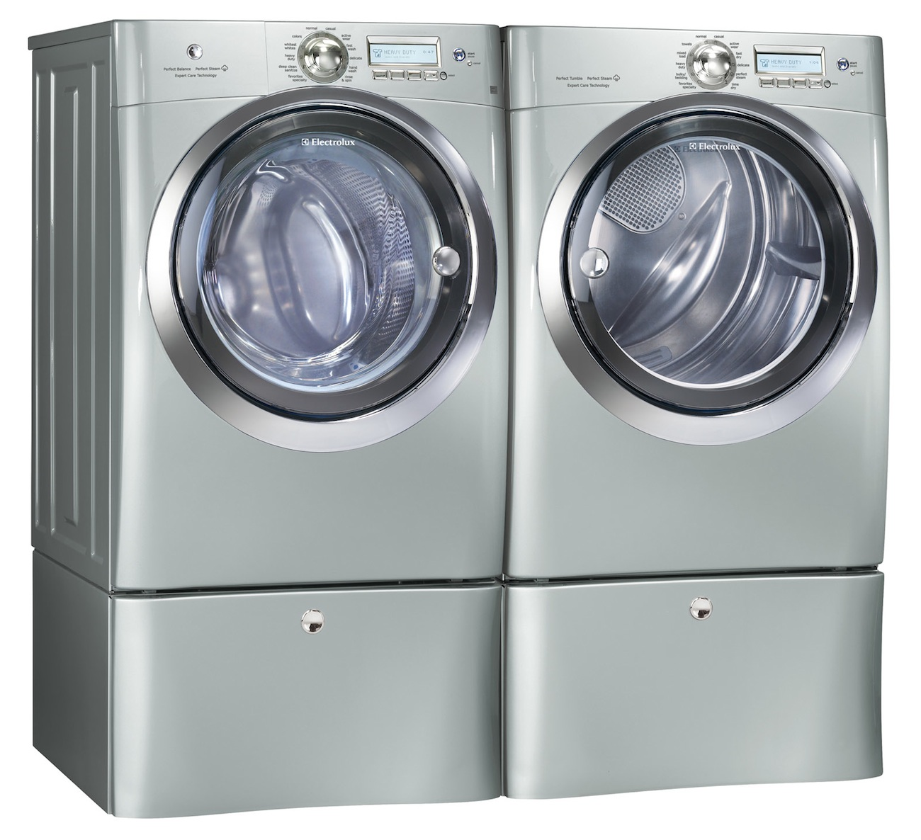 Electrolux Silver Steam Washer And Steam Gas Dryer Laundry