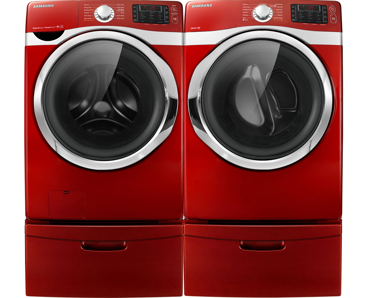Samsung Red Steam Washer and Steam Electric Dryer Laundry ...