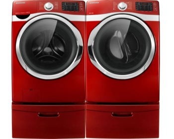 Samsung Red Steam Washer And Steam Electric Dryer Laundry